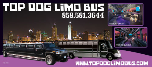 Top Dog Limo Bus in San Diego for the best Party Buses in San Diego! You have to see this one. New luxury party buses and Hummer Limos in San Diego. Call today 858-581-3644 to hear about our specials and FREE hours!