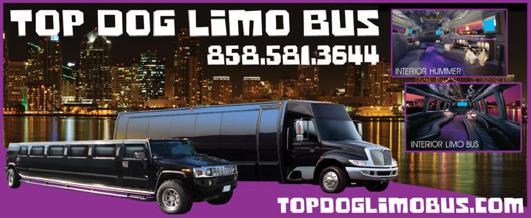 Concerts in San Diego Limo Bus Service Top Dog Limo Bus. San Diego concert transportation includes free party package. Call today 858-581-3644 for Concert transportation in San Diego Limo Bus Party Bus San Diego